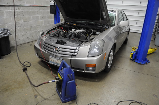 2003 Cadillac CTS 3.2 V6 Flashing check engine light P0171 P0174 Lean Bank 1 Bank 2 Checking for air leaks vacuum smoke test