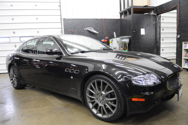 2007 Maserati quattroporte sport GT Black custom exhaust stainless fabrication chicago black