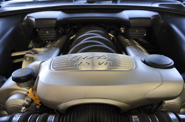 2006 porsche Cayenne S Turbo 955 water leak plastic coolant pipe replacement install aluminum 11 final engine shot - Copy