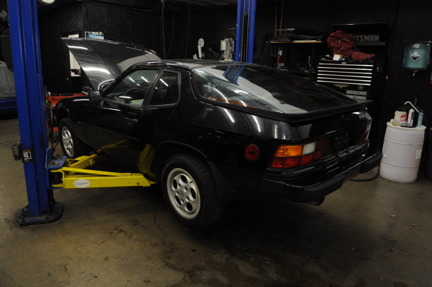 1983 porsche 924 s water pump replacement coolant leak timing belt tension oil 944 rear decals hatch black side shot on lift fluid motorunion