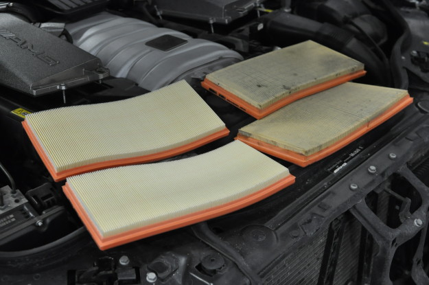 2008 Mercedes Benz E63 AMG W211 M156 6.3L V8 air filter service replacement airbox intake change comparisonnew and old dirty clean