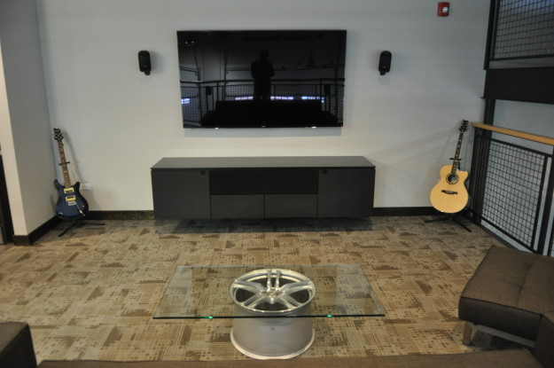 iron gate motor condo flat screen television coffee table wheel second floor finished product