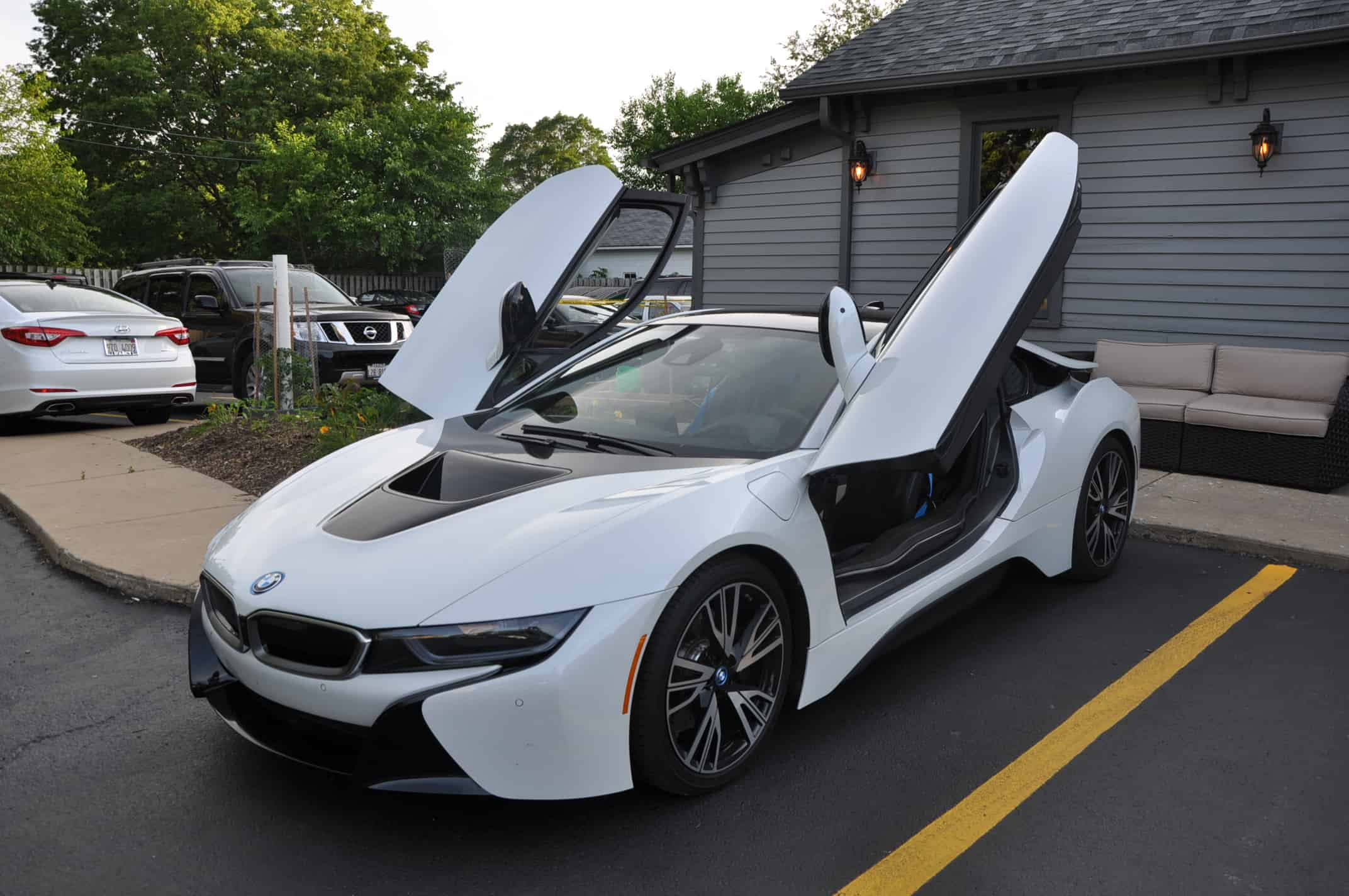 plainfield car show import night bmw i8 open doors white black car