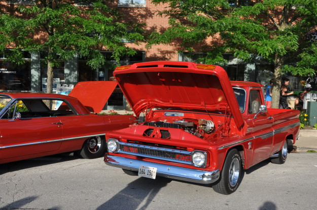 plainfield car show import night chevrolet c10 pickup red muscle truck