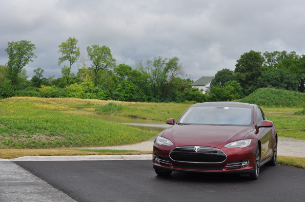 tesla model s elon musk front end scenic background forest trees green
