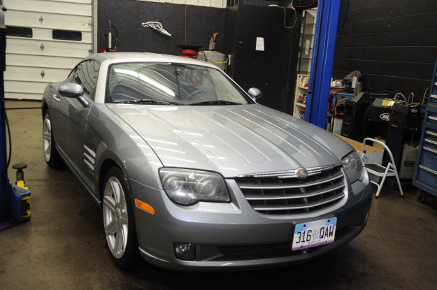 Unconventional Oil Change 2004 chrysler crossfire 3.2L V6 M112 and 2001 Mercedes Benz S55 amg 5.4L V8 M113 exterior coupe silver gray