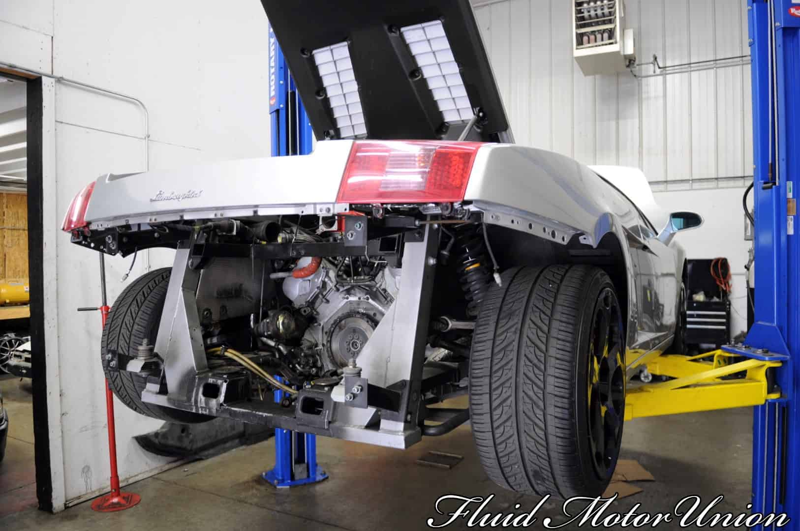 2 04 Lamborghi Gallardo silver bumper removal  6 speed clutch replacement and repair chicago lamborghini