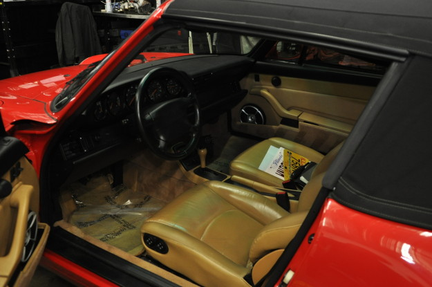 1995 porsche 911 carrera 993 c2 cabriolet red automatic transmission battery replacement interior tan leather