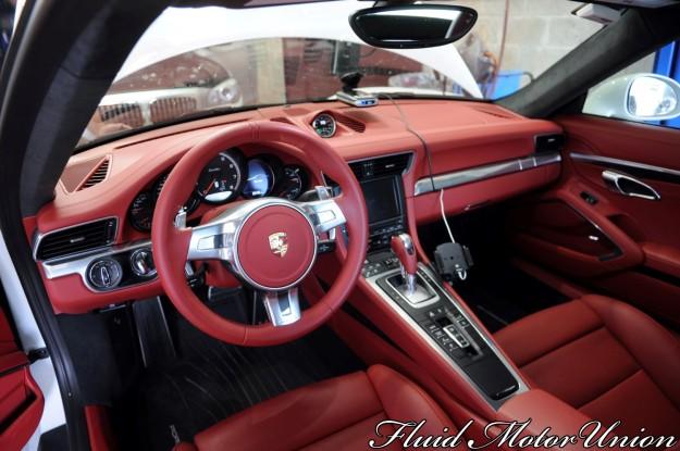 5 991 Porsche 911 Turbo Pagid Yellow Brake Pad Install red interior